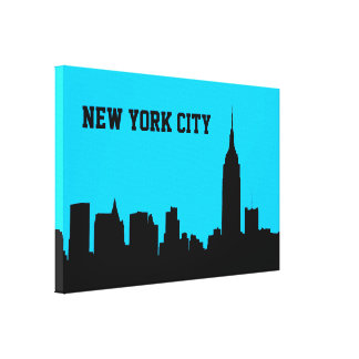 Silueta del horizonte de NYC, edificio #1 del Lona Envuelta Para Galerias