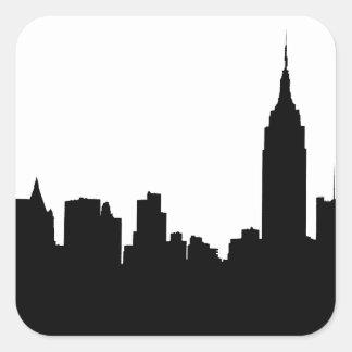 Silueta del horizonte de NYC, edificio #1 del Pegatina Cuadrada