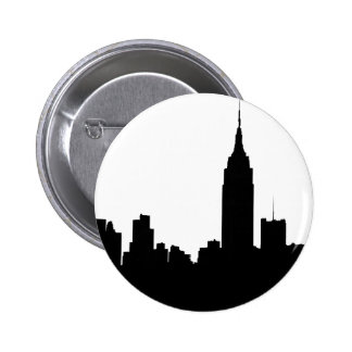 Silueta del horizonte de NYC, edificio #1 del Pin Redondo De 2 Pulgadas