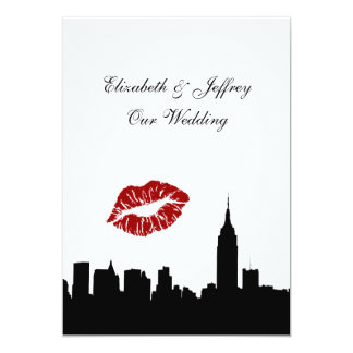 """Silueta del horizonte de NYC, ESB #1 BW del beso Invitación 5"""" X 7"""""""