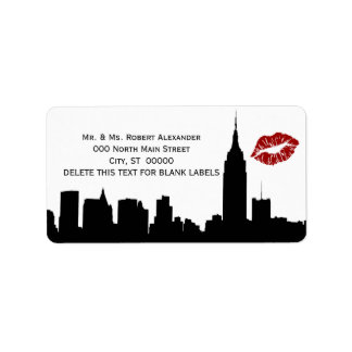 Silueta del horizonte de NYC, etiqueta del Addr