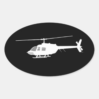 Silueta del interruptor del helicóptero que vuela pegatina ovalada
