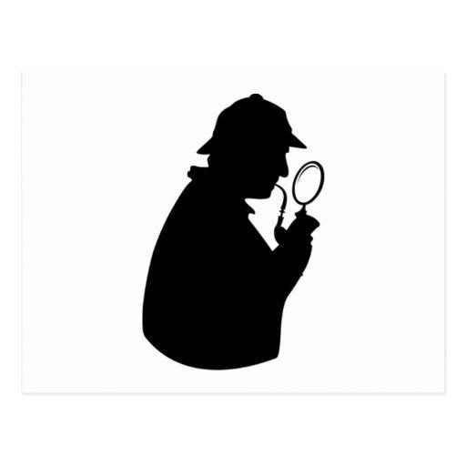 Silueta del investigador privado postales
