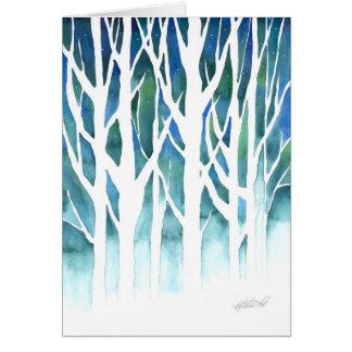 Silueta del invierno tarjeta de felicitación