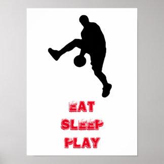 Silueta del jugador de básquet de Eat Sleep Play Póster