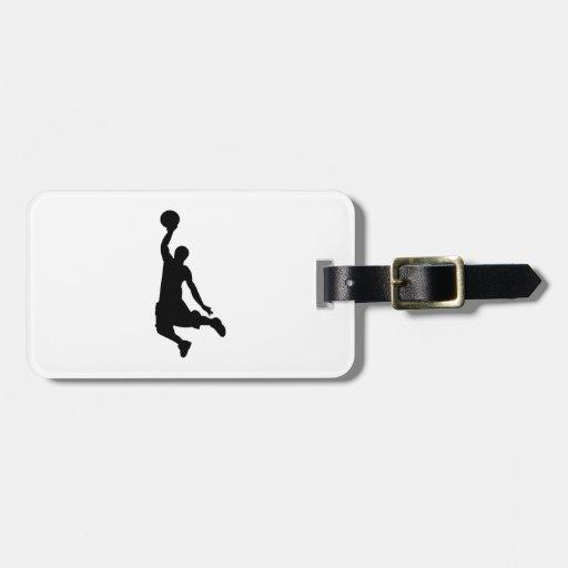 Silueta del jugador de básquet etiquetas para equipaje