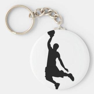 Silueta del jugador de básquet llavero redondo tipo pin