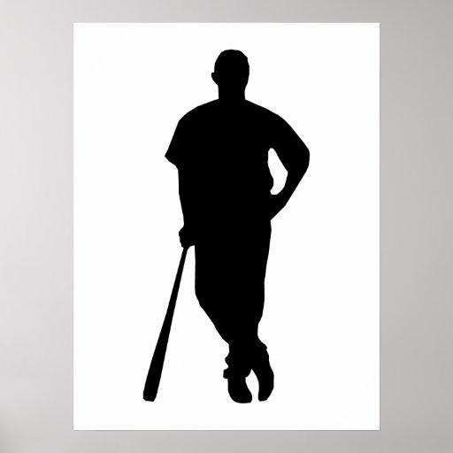 Silueta del jugador de béisbol posters