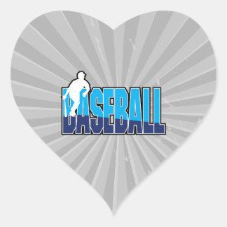 silueta del jugador de béisbol y logotipo del pegatina en forma de corazón