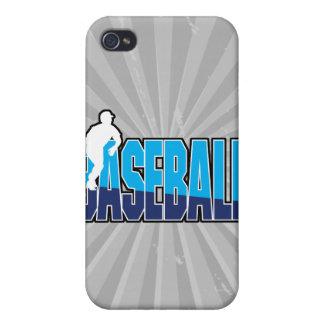 silueta del jugador de béisbol y logotipo del text iPhone 4/4S fundas