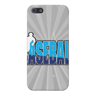 silueta del jugador de béisbol y logotipo del text iPhone 5 carcasa
