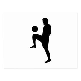 Silueta del jugador de fútbol postal