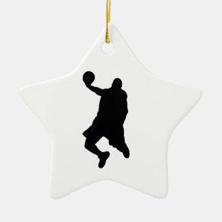 Silueta del jugador de la clavada adorno navideño de cerámica en forma de estrella