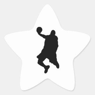 Silueta del jugador de la clavada pegatina forma de estrella personalizadas