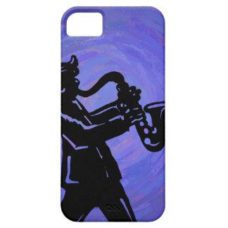 Silueta del jugador de saxofón de Saxy en azul iPhone 5 Funda