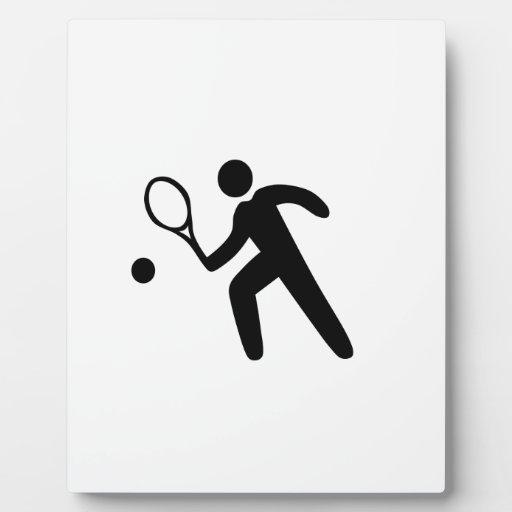Silueta del jugador de tenis placa