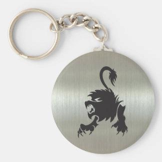 Silueta del león de Leo en efecto metálico Llavero Redondo Tipo Pin