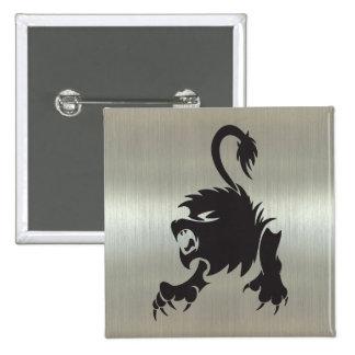 Silueta del león de Leo en efecto metálico Pin Cuadrado