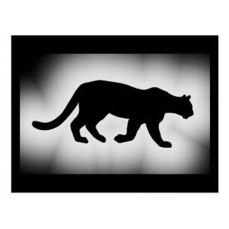 Silueta del león de montaña del puma del puma tarjeta postal