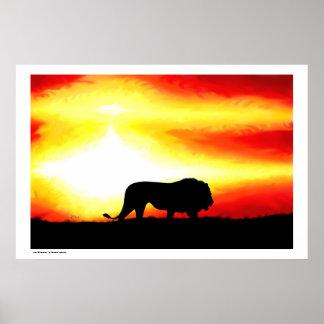 Silueta del león póster