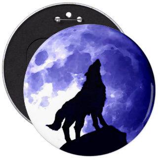 Silueta del lobo y Luna Llena Pin Redondo De 6 Pulgadas
