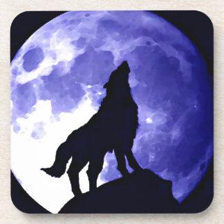 Silueta del lobo y Luna Llena Posavaso