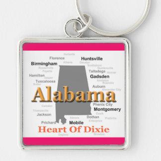 Silueta del mapa del orgullo del estado de Alabama Llavero Personalizado