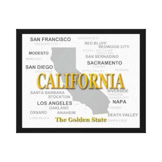 Silueta del mapa del orgullo del estado de lienzo envuelto para galerias