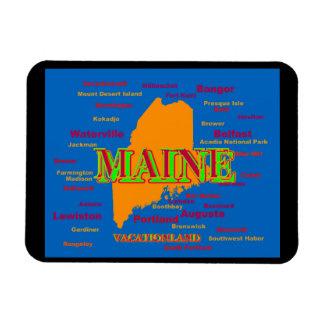 Silueta del mapa del orgullo del estado de Maine Imanes Rectangulares