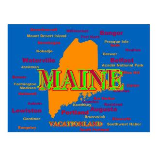 Silueta del mapa del orgullo del estado de Maine Postal