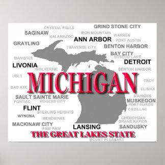 Silueta del mapa del orgullo del estado de póster