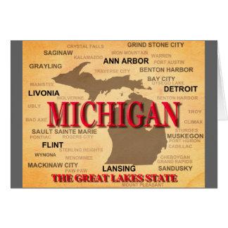 Silueta del mapa del orgullo del estado de tarjeta de felicitación