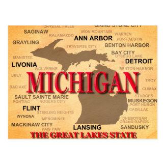 Silueta del mapa del orgullo del estado de tarjeta postal