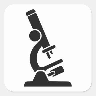 Silueta del microscopio pegatina cuadrada
