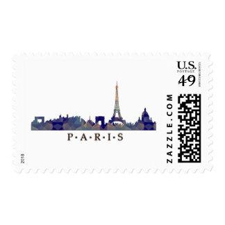 Silueta del mosaico del horizonte de París Sellos