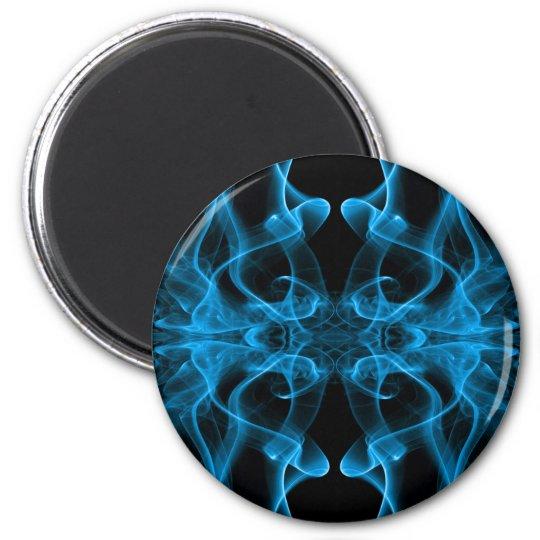 Silueta del negro azul del extracto del humo color imán redondo 5 cm
