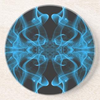 Silueta del negro azul del extracto del humo color posavasos manualidades