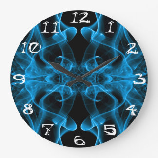 Silueta del negro azul del extracto del humo color reloj
