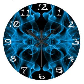 Silueta del negro azul del extracto del humo color reloj redondo grande