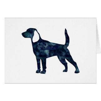 Silueta del negro de la acuarela del perro del tarjeta de felicitación