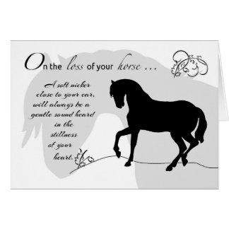 Silueta del negro de la condolencia del caballo tarjeta de felicitación