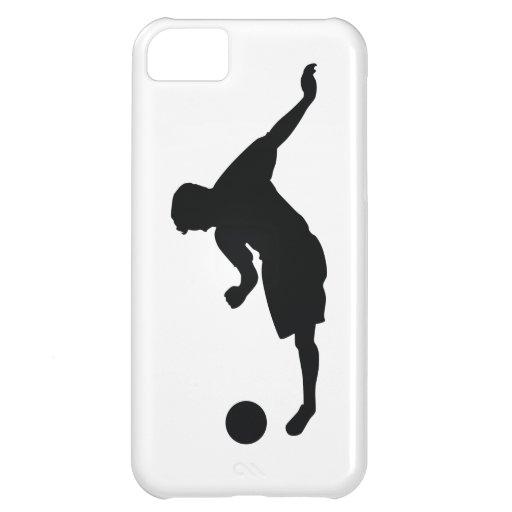Silueta del negro del fútbol del fútbol funda para iPhone 5C