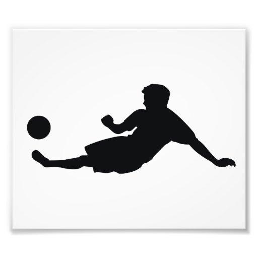 Silueta del negro del fútbol del fútbol impresiones fotográficas