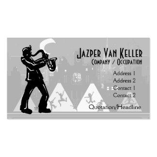 Silueta del negro del jugador de saxofón tarjetas de visita