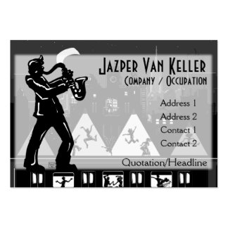 Silueta del negro del jugador de saxofón tarjetas de visita grandes