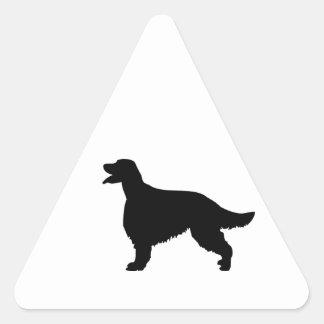 Silueta del negro del perro de Irish Setter, Pegatina Triangular
