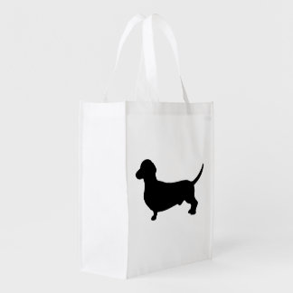 Silueta del negro del perro del Dachshund linda Bolsa Para La Compra