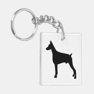 Silueta del negro del perro del Doberman, regalo Llavero Cuadrado Acrílico A Doble Cara