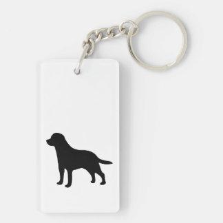 Silueta del negro del perro del labrador retriever llavero rectangular acrílico a doble cara