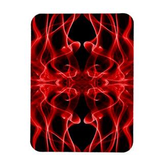 Silueta del negro rojo del extracto del humo color imán rectangular
